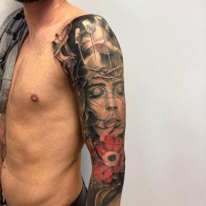 tatuaż rękaw realistyczny - Ponton Tattoo School