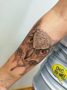 Tatuaż sowa - kurs szkolący z tatuażu - Ponton Tattoo School